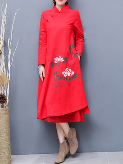 Chinese Style Casual Loose Women Two Layer Dresses