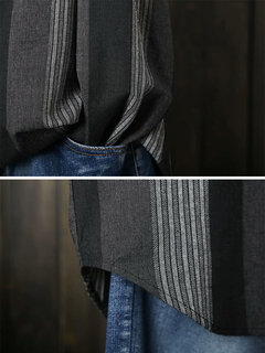 Контрастные цветные полоски с длинными рукавами Нерегулярные повседневные рубашки