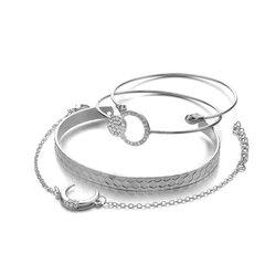 Pulseira boêmio pulseira de prata de ouro conjunto 4pcs cadeia lua pulseira ajustável aberta para as mulheres