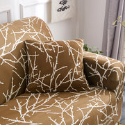 1/2/3 Seater White Branch-Gold Home Soft Elastic Sofa Cover Easy Stretch Slipcover Protector Couch