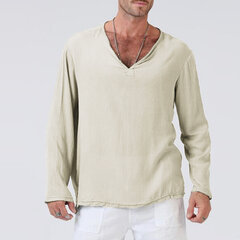 Mens 100% Cotton Breathable V-neck Long Sleeve Solid Color Loose Fit Casual Tops