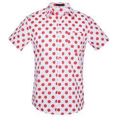 كبيرة الحجم الرجال قصيرة الأكمام البولكا نقطة زر حتى قميص القطن