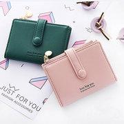 Femmes bonbons couleur étudiant petit portefeuille court porte-carte porte-monnaie