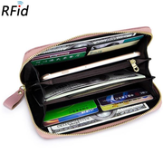 RFID Women Genuine Leather Floral Embossed Long Wallet 8 Card Slot Phone Purse