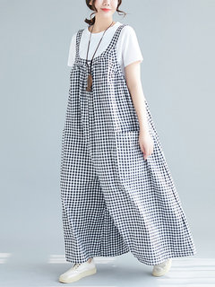 Strap Plaid Print Wide Leg Casual Romper For Women