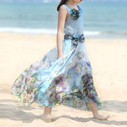 Bohemian Style Floral Girls Kids Party Beach Casual Long Dresses For 4Y-15Y
