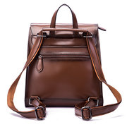 Brenice Leather Backpack College Bags Cow Leather Backpack Vintage Casual Daypack