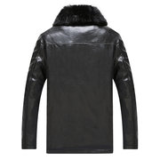 Mens Leder Revers Jacke PU Einfarbig Casual Business Winter Warmer Wollmantel