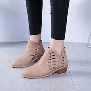 Плюс Размер Женщины Обувь Полые Низкие пятки Zip Короткие сапоги лодыжки