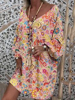 Print Bohemian V Neck Long Sleeve Summer Dress