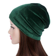 Femmes Velours Wtih Diamants Stretch Turban Chapeau Casual Chaud Solid Beanie Cap