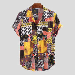 Mens Summer Hit Color Floral Printed Turn Down Collar Short Sleeve Loose Shirts