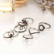 8 Pcs Bohemian Gift Ring Set Vintage Crystal Geometric Gem Casual Knuckle Rings for Women