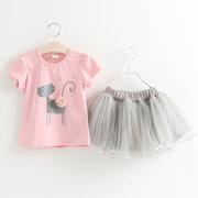 Симпатичные Кот принт девушки топ + юбка набор для 2-9 лет
