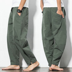 Mens Casual Baggy 100% Cotton Harem Pants Solid Color Loose Wide Leg Pants