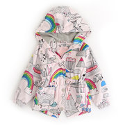 Rainbow Print Girls Coats Outerwear Kids Hooded Jackets Children Clothes For 3Y-11Y