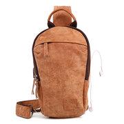 الرجال جلد طبيعي خمر حقيبة الصدر USB شحن وحهة المستخدم عارضة حقيبة كروسبودي
