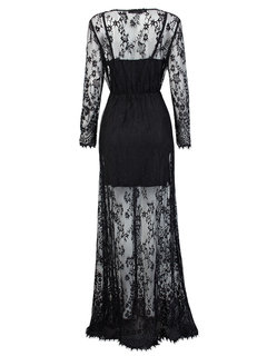 Party Evening Sexy Transparent V Neck Lace Hallow Long Sleeve Women Dress