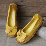 SOCOFY Butterfly Knot Woven Soft Retro Flat Shoes