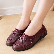 Stitching Hollow Out Bowknot Strass Slip On Shoes da donna