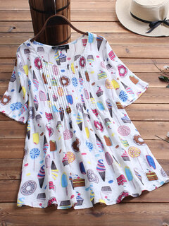 Cartoon Print Pleated Short Sleeve Loose Plus Size Blouse