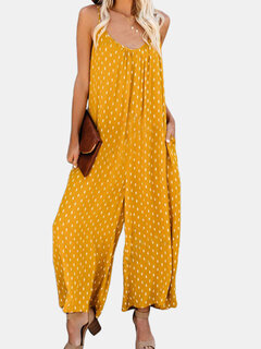 Casual Print Straps Holiday Wide Leg Jumpsuits