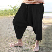 Mens Cotton Baggy Harem Pants Solid Color Loose Casual Crotch Trousers