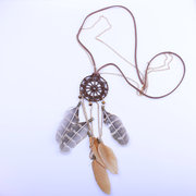 Vintage Pendnat Necklace Hollow Dream Net Feather Tassels Charm Necklace Ethnic Jewelry for Women