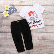 2Pcs Lovely Girls Printed Clothes Set T-Shirt + Long Pants For 1Y-7Y