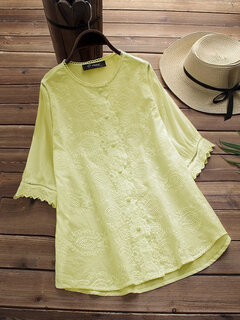 Elegant Embroidery Solid Color Shirts for Women