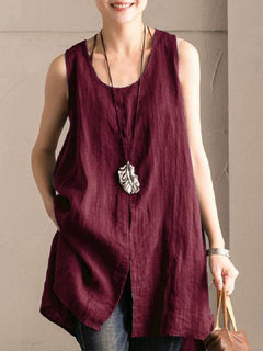Vintage Solid Color U-neck Split Sleeveless T-Shirt
