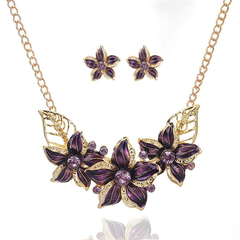 Vintage Pendant Jewelry Set Multicolor Flower Pendant Gold Leaf Chain Necklace Earrings for Women