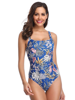 Floral Print Wireless One Piece Swimsuit