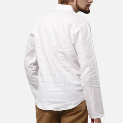 Mens  V-neck Casual Cotton Linen T-shirt Loose Tops Long Sleeve Tee Shirt