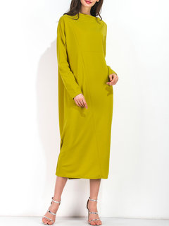 Casual Women Long Sleeve Pure Color Maxi Dresses