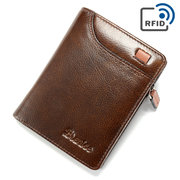 Women RFID 10 Card Holder Vintage Oil Leather Short Wallet Coin Purse