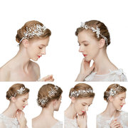 Elegant Hair Clip Leaf Plant Pearls Rhinestone Branch Gold Hair Accessories Ethnic Jewelry for Women