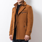 Mens Winter Woolen Coat Fake Two Pieces Thickened Warm Solid Color Business Casual Coat