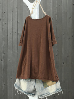 Star Patch O-neck Pullover High Low T-Shirt
