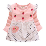Cute Patchwork Baby Girls Casual Long Sleeve Dresses For 0-24M