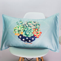 48*74 cm Potted Plants Cacti Succulent Silk Fabric Soft Cotton Linen Pillowcase