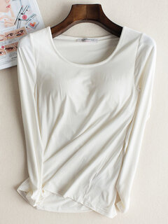 Buttoming With A Bra Long Sleeve T-Shirt