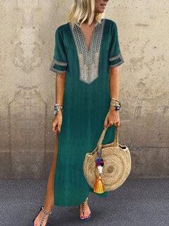 Женское Лоскутная этническая печать с короткими рукавами Платье