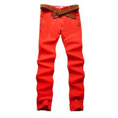 Moda Mens Elastic Apertado Calças Casual Slim Fit lápis de Algodão Calças 10 Cores