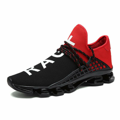 Men Knitted Fabric Breathable Lace Up Running Sneakers