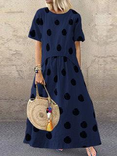 Robe décontractée en coton à point polka manches courtes pour femme