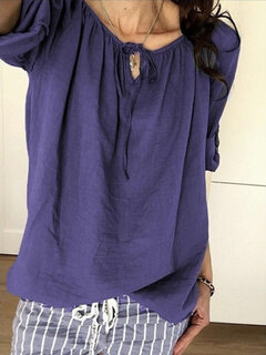 Bandage Solid Color Long Sleeve Casual Blouse