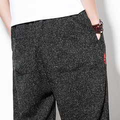 Mens Stylish Baggy Comfy Linen Drawstring Pants Cropped Trousers