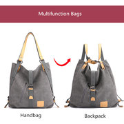 KVKY Canvas Tote Handbags Vintage Multifunction Shoulder Bags Backpack
