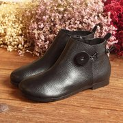 SOCOFY Genuine Leather Button Stitching Ankle Zipper Vintage Boots